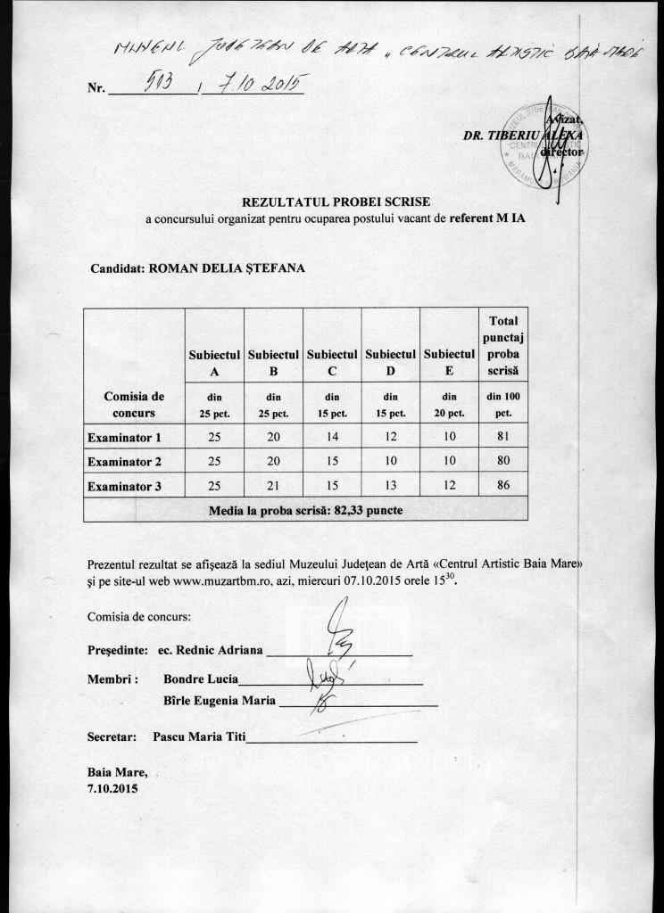 Rezultat proba scrisa Referent M 1 A