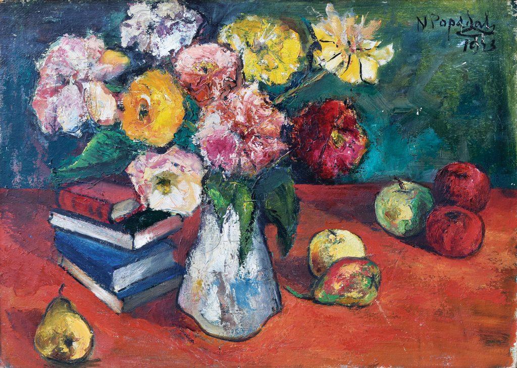Nicolae Popa - Natură statică cu flori, cărți și mere